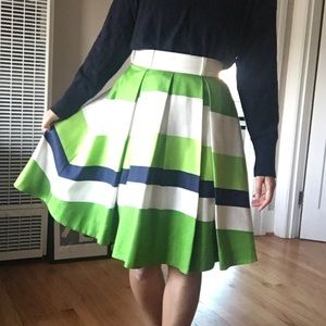KATE SPADE Green and Navy Striped Pleated Skirt 2